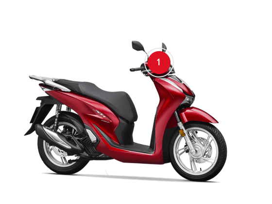 Honda SH150i 3 quarter front right side 1 - HONDA SH 300 ABS BAULETTO KEYLESS E PARABREZZA