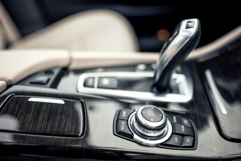 close-up details of automatic transmission and gear stick